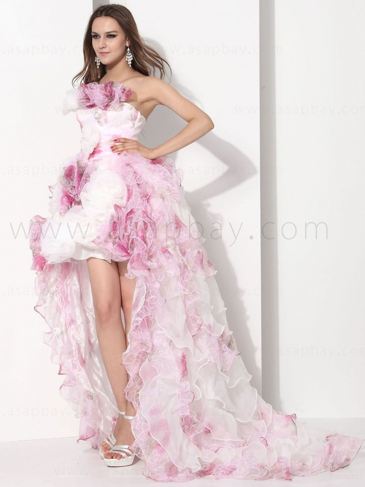romantic gorgeous asapbay organza strapless short quinceanera dress