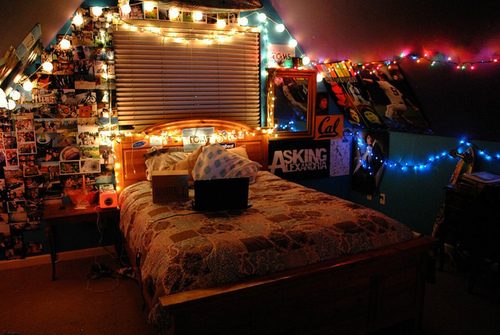 room, lights, posters, asking alexandria - image #469828 ...
