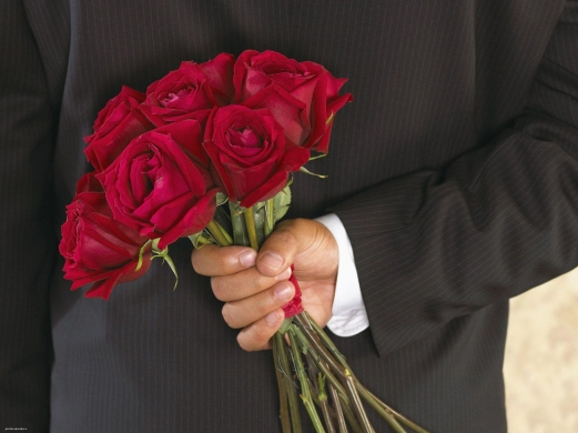 hand, man, red, rose, suit