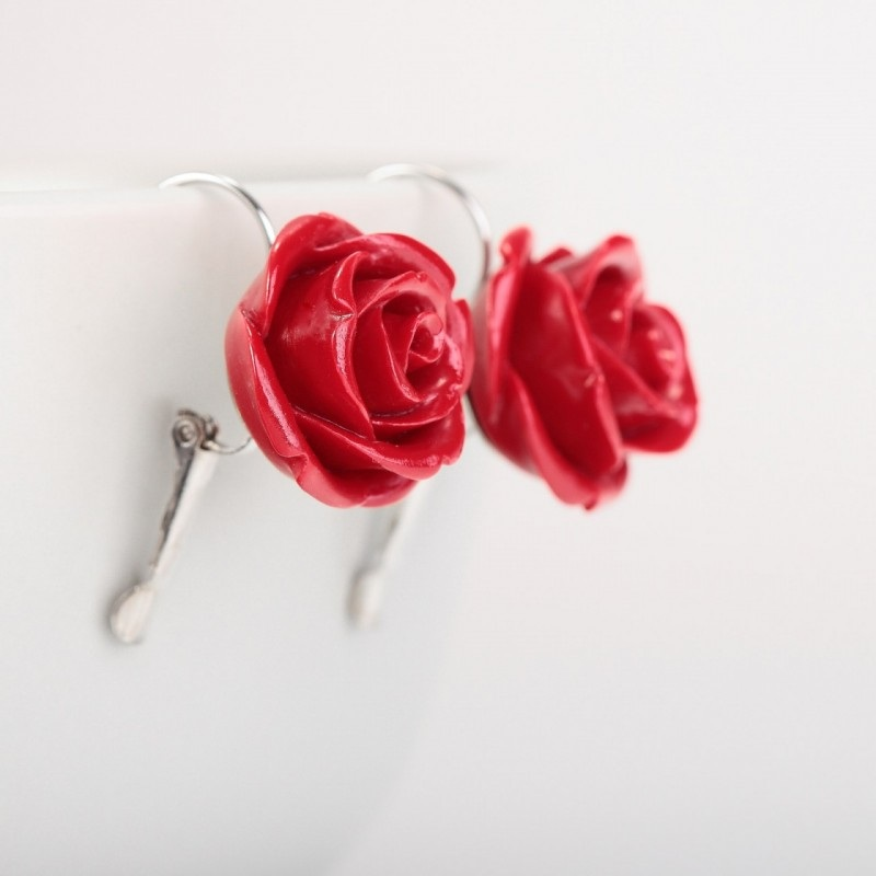 rose stud, rose earrings, rose jewelry, coral earrings, coral studs