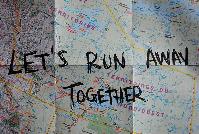 runaway, together, map, adventure, quote