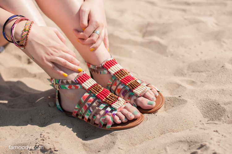 sandals, aztec, flats, bracelet, bracelets