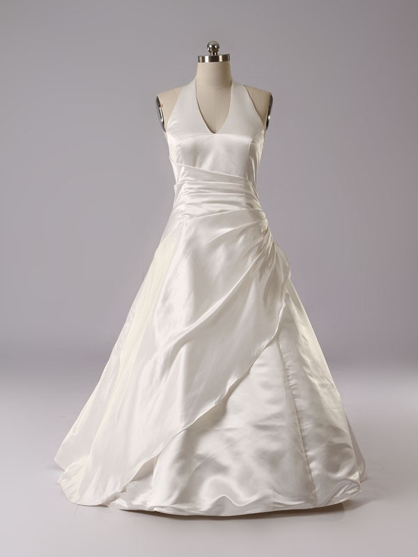 satin elegant high quality a line brush train ivory wedding dress