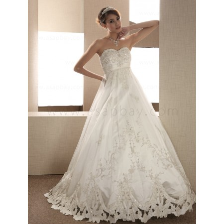 satin ivory sweep/brush train sweetheart a line wedding dress