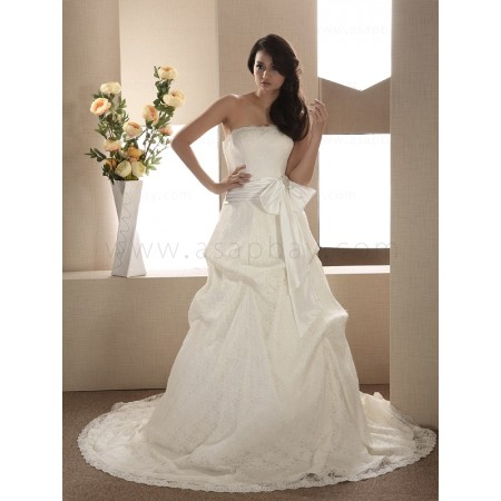 satin landybridal elegant ivory sweep/brush train strapless a line wedding dress