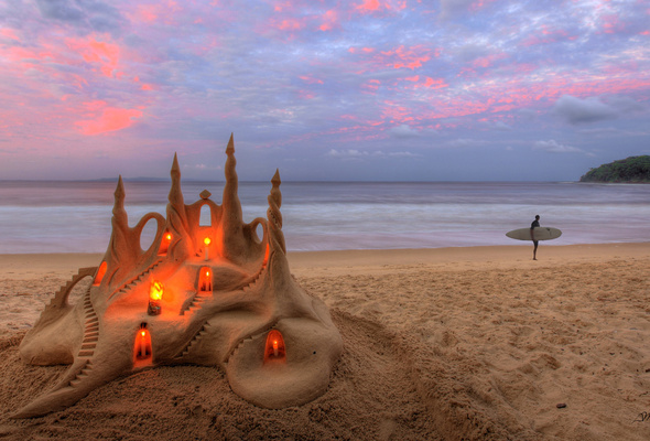 candles, sand castle, sea