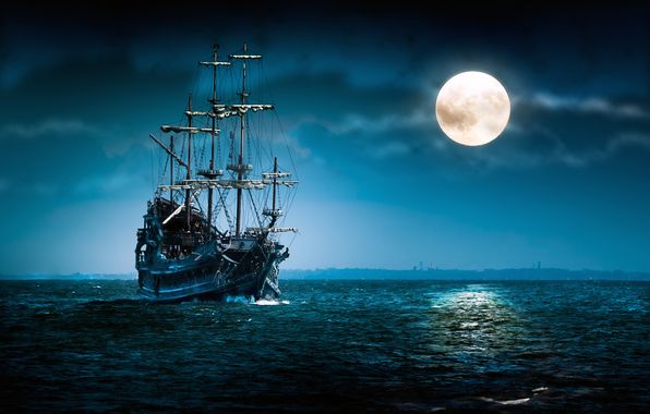sea, night, full moon, cloud, ship