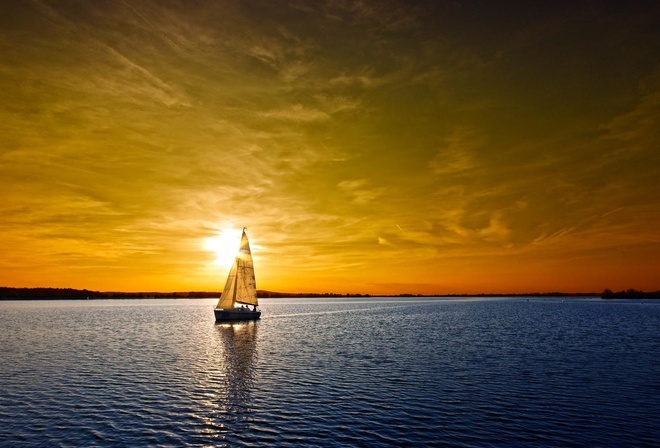 sea, the boat, sunset