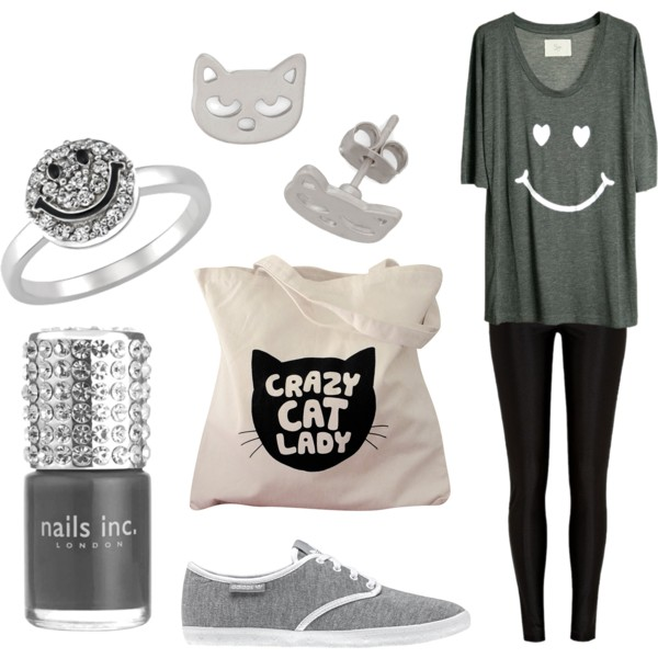 set, fashion, grey, cat, smile