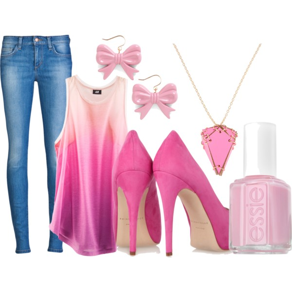 set, fashion, jeans, essie, pink