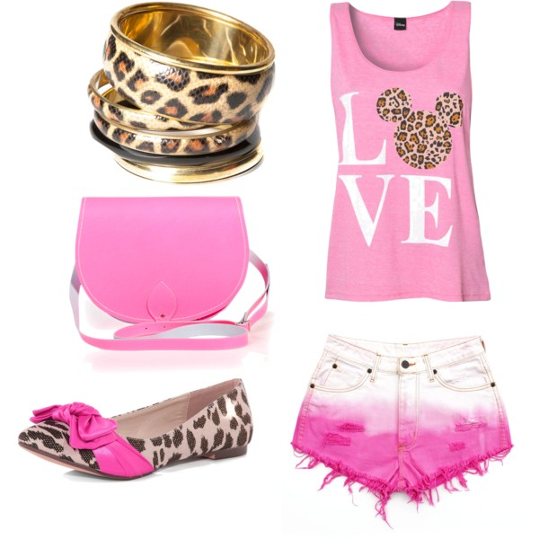 set, fashion, pink, leopard, mickey mouse