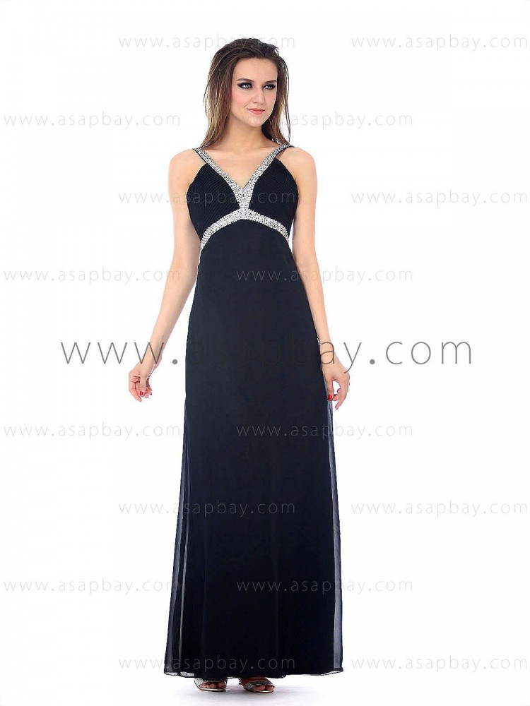 sexy asapbay crystal chiffon straps floor length sheath/column black evening dress