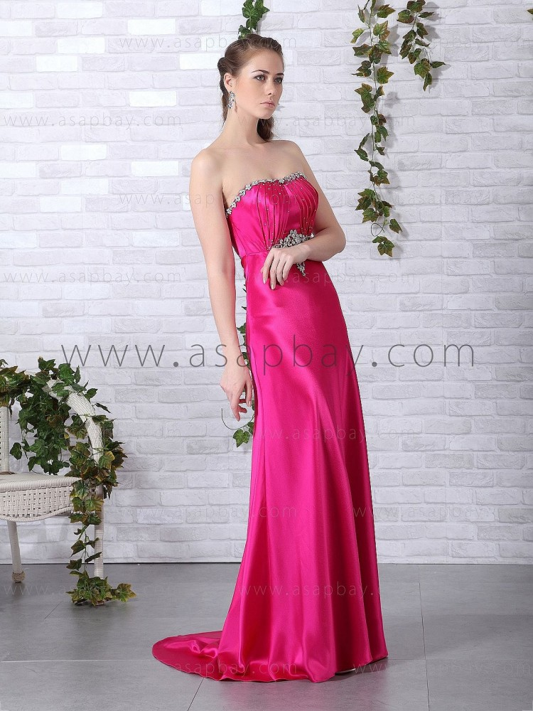 sexy fashion asapbay red court train sweetheart sheath/column elastic satin evening dress