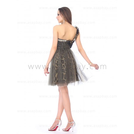 sexy fashion cute animal printed tulle flower one shoulder a line knee length cocktail dress
