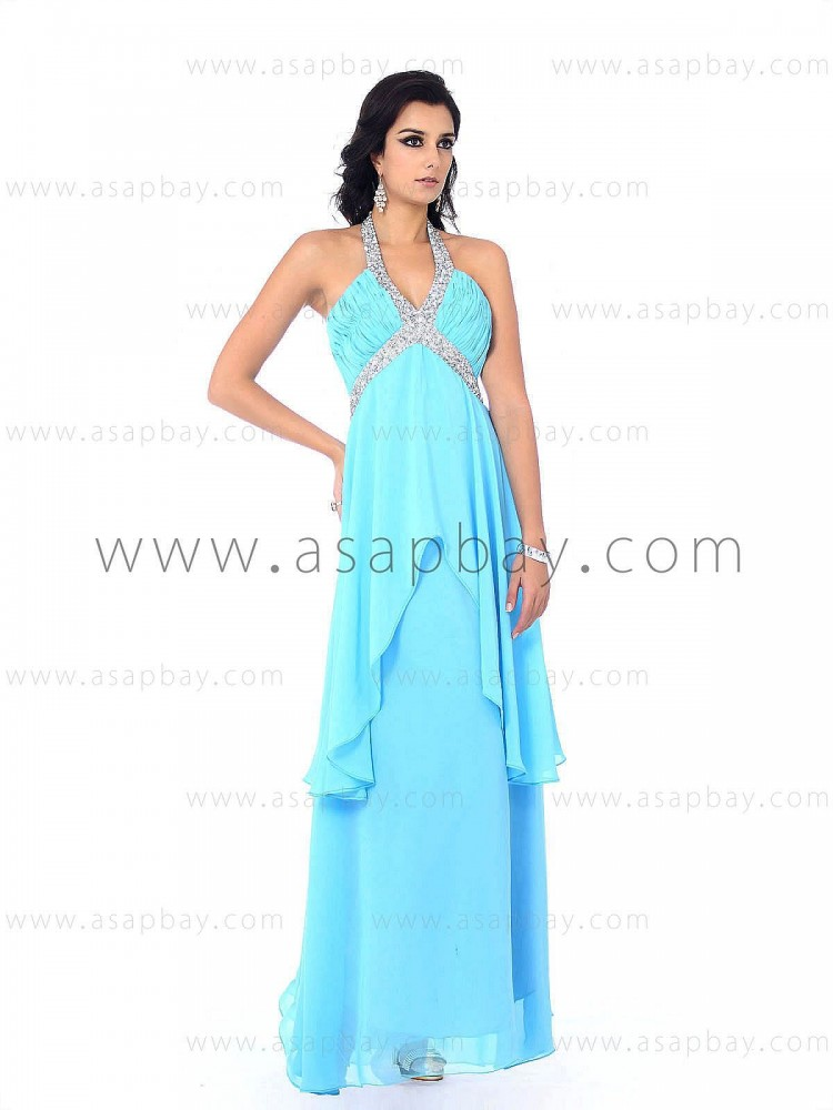 sexy fashion cute draped chiffon beading ruched halter floor length sheath/column blue evening dress