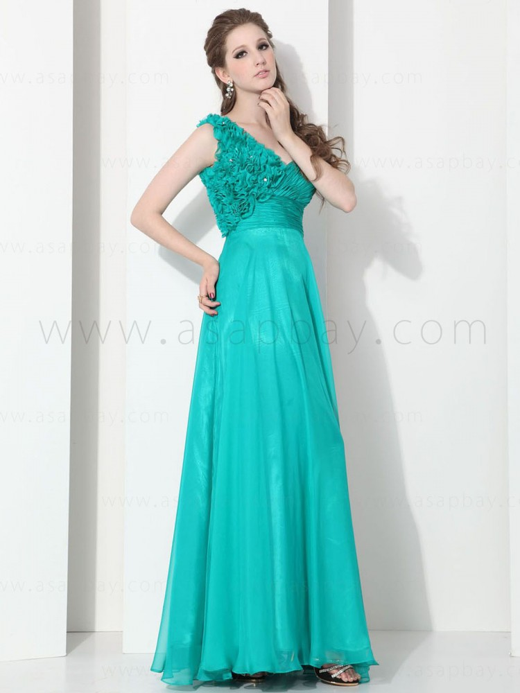 sexy fashion cute draped chiffon v neck floor length pageant dress