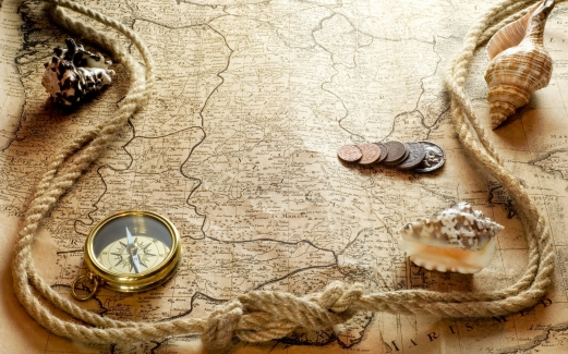 shells, compass, rope, a map