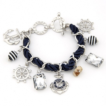 accessories, anchor, beautiful, boat, bracelet, charm bracelet, chic, cute, fashion jewelry, jewelry, original, rudder wheel, sailor, shine, shine accessories, silver color, trendy, unique