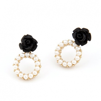 accessories, beautiful, black, black rose, chic, cute, earrings, elegant, fashion jewelry, jewelry, original, pearl, pearl earrings, romantic, shine, shine accessories, stud, stud earrings, sweet, trendy, unique