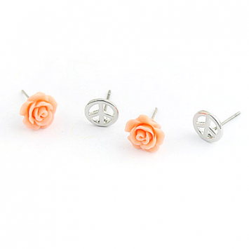 accessories, beautiful, chic, cute, earrings, fashion jewelry, jewelry, original, peace symbol, rose, set, shine, shine accessories, stud, stud earrings, trendy, unique