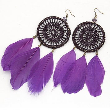 accessories, beautiful, earrings, ethic earrings, ethnic, fashion jewelry, feather, feather earrings, jewelry, original, purple, shine, shine accessories, trendy, unique
