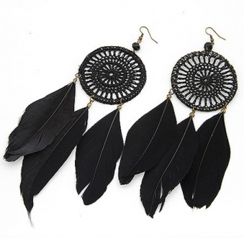 accessories, beautiful, black, earrings, ethic earrings, ethnic, fashion jewelry, feather, feather earrings, jewelry, original, shine, shine accessories, trendy, unique