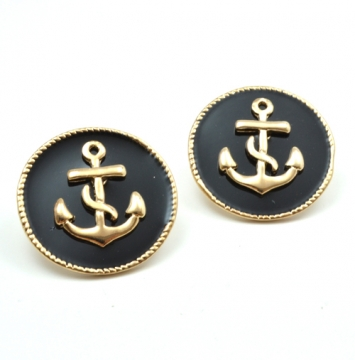 accessories, anchor, anchor earrings, beautiful, black color, black earrings, chic, earrings, fashion earrings, fashion jewelry, jewelry, original, sailor, shine, shine accessories, trendy, unique