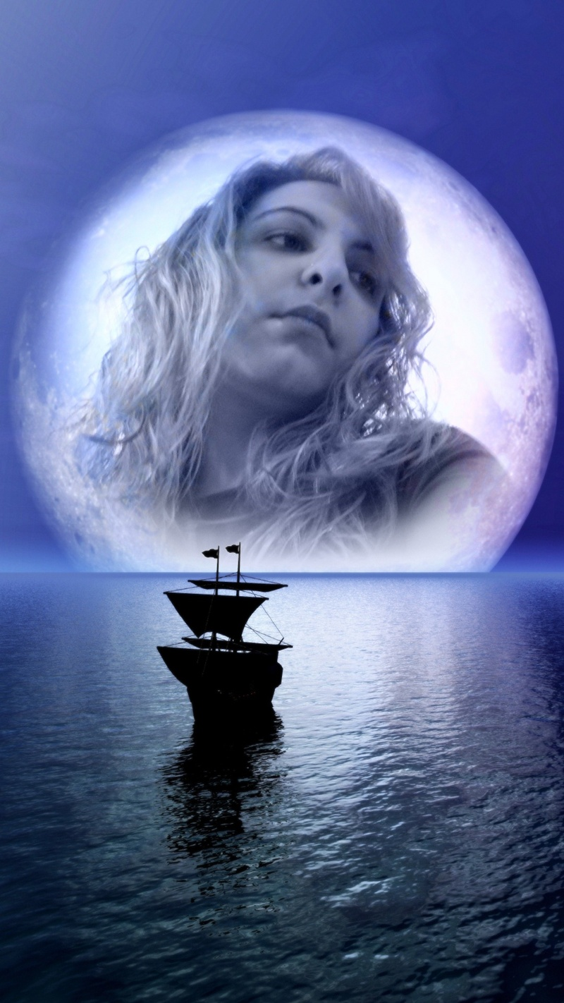 ship, girl, moon, water, river