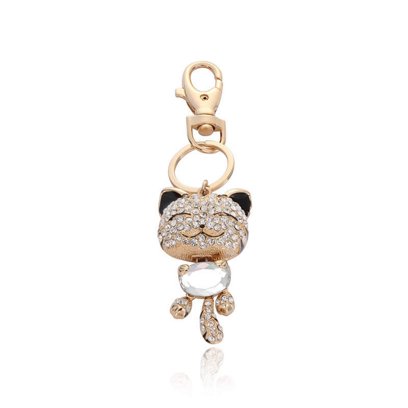 shop for cat cryatal  key ring, okajewelry smiling cat rhinestone key ring-cat crystal key charm fetures the cute cat charm paved with rhinestones.