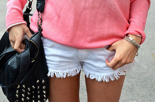 shorts, pink, blue, girl, bag