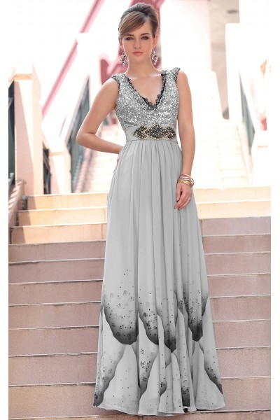 silver sleeveless v-neck print tencel a-line formal party dress s617