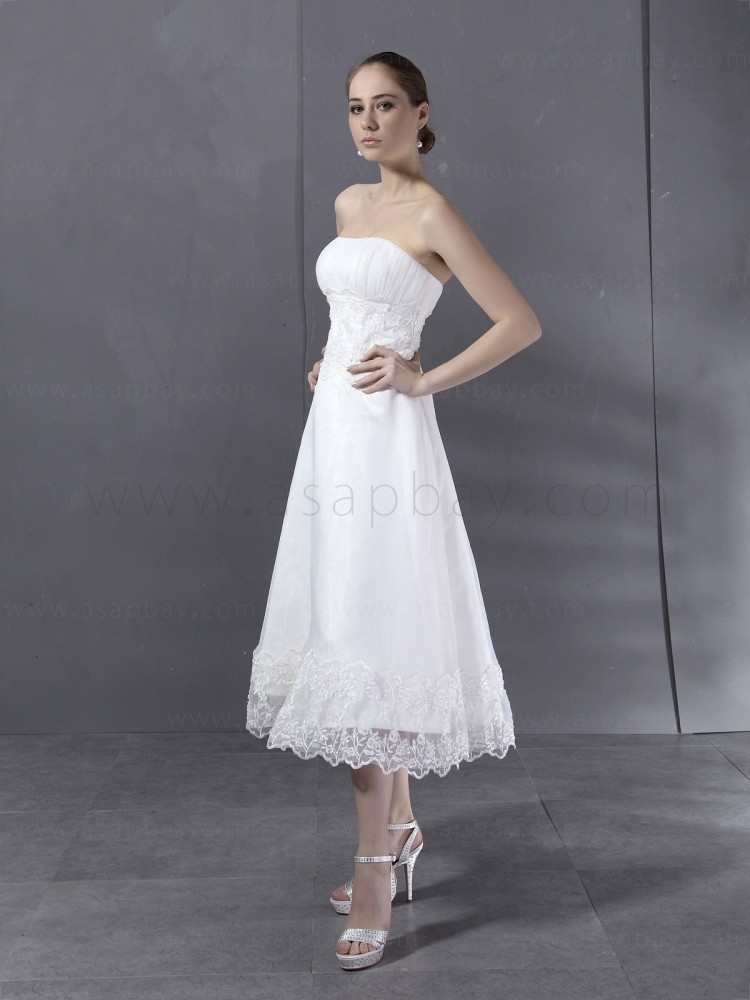 simple elegant ivory lace a line strapless tea length wedding dress