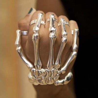 skeleton, bracelet, hand, silver tone, hot