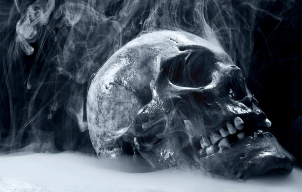 skull, smoke, teeth