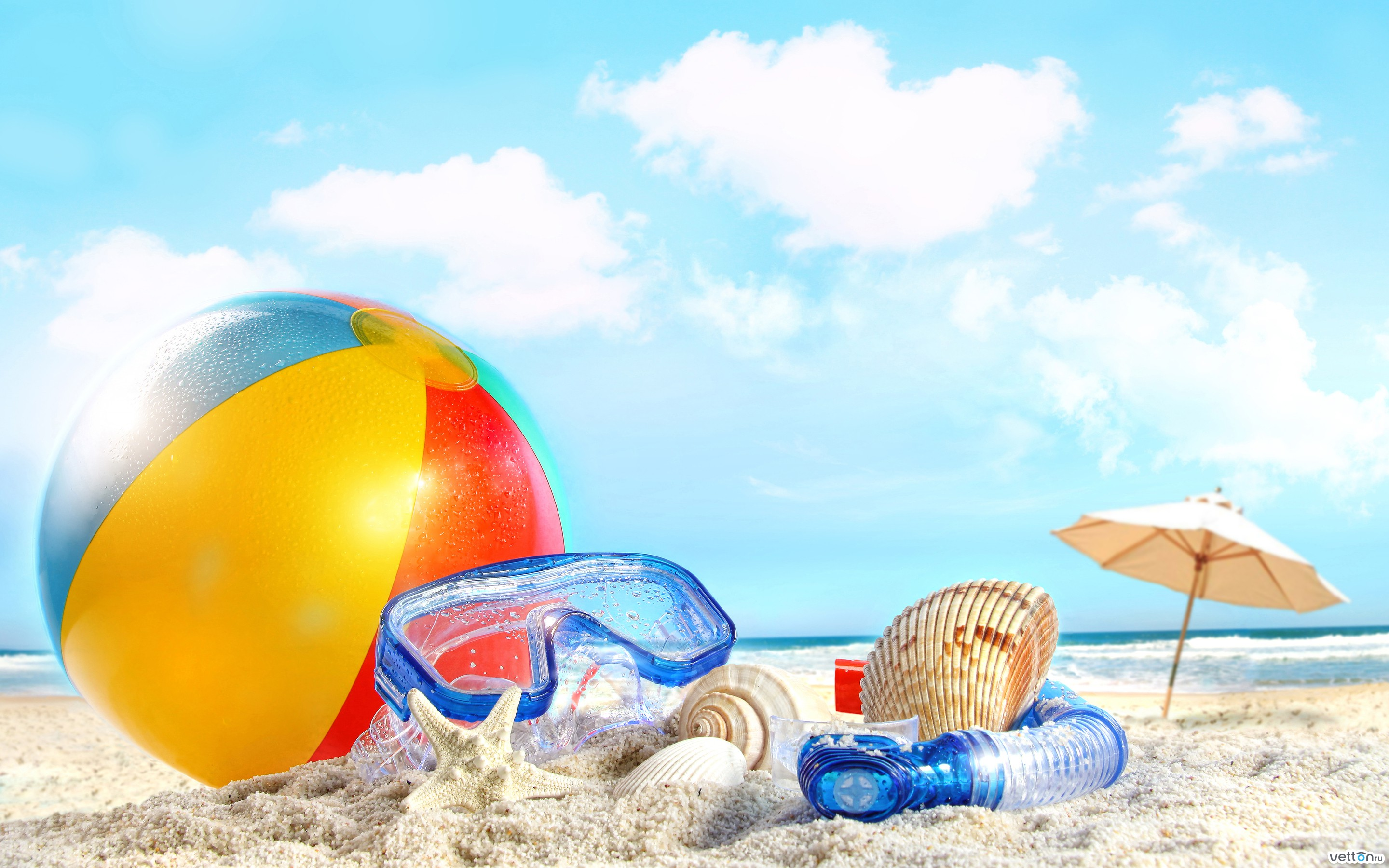 sky, beach, ball, shells, sand