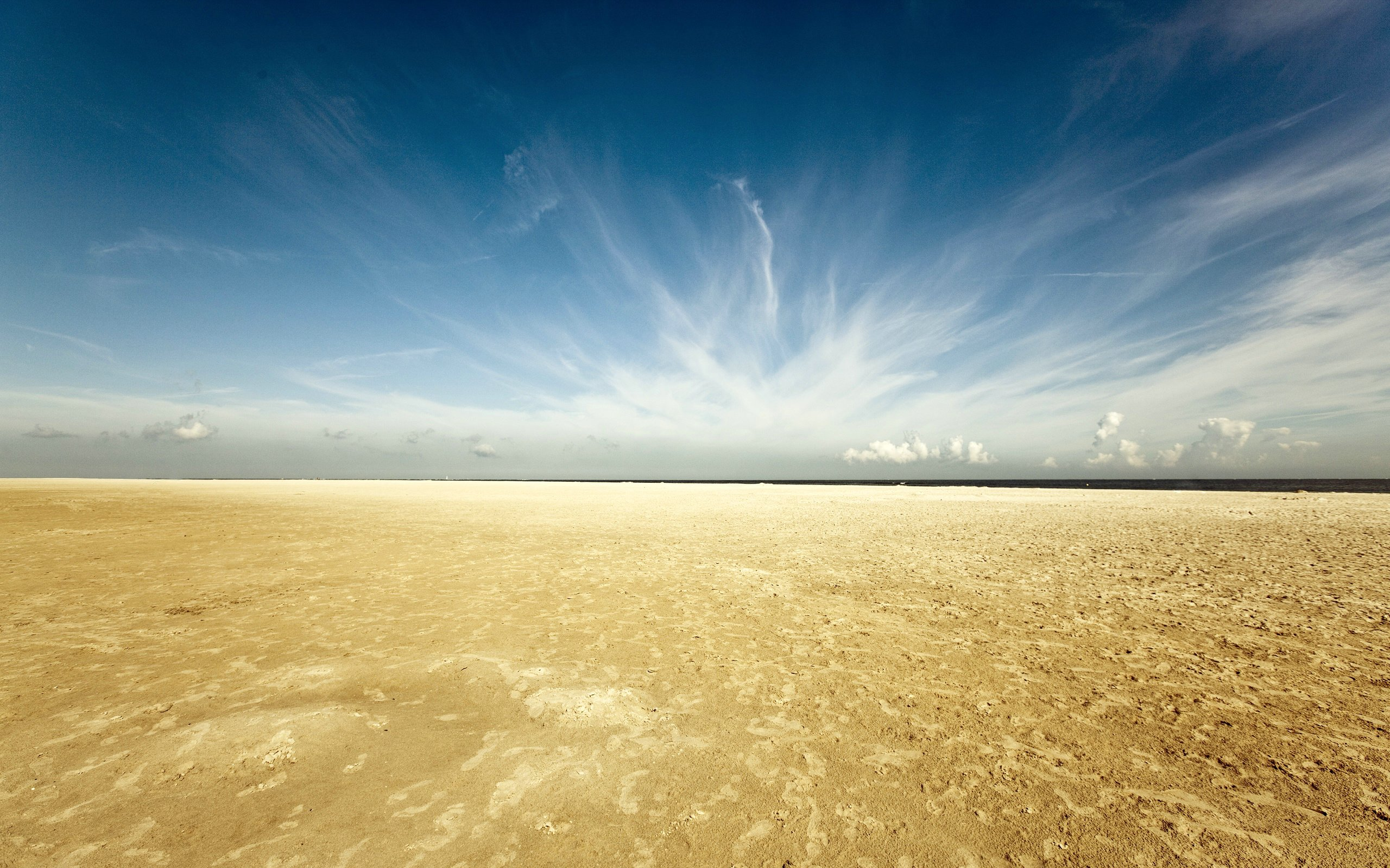 sky, clouds, desert, sand, horizon