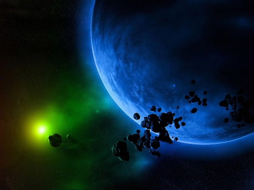 asteroids, planets, space, stars
