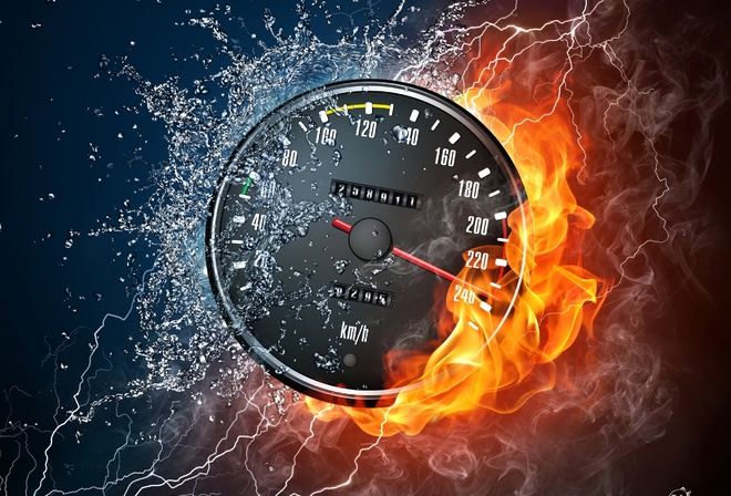 speed, the speedometer, the flame