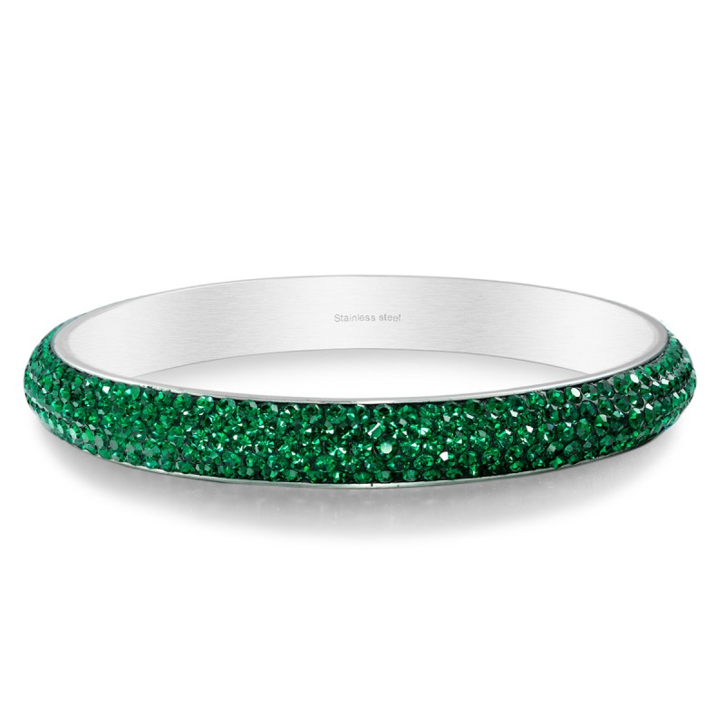 stainless steel bangle, 5 rows emerald crystal bracelet