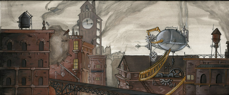 steampunk, city, gray, draw, drawing