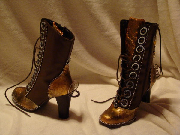 steampunk, shoes, gold, brown