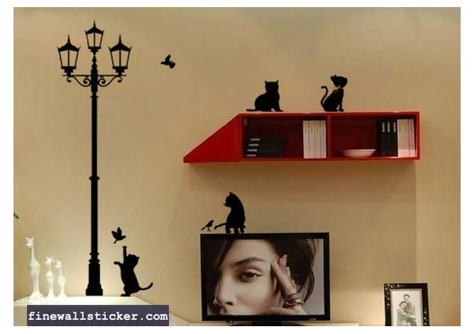 street light and lovely cat wall decal vinyl wall sticker