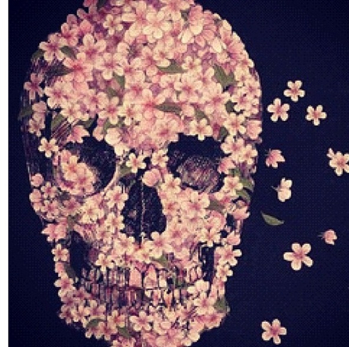 art, flowers, nature, sugar skull