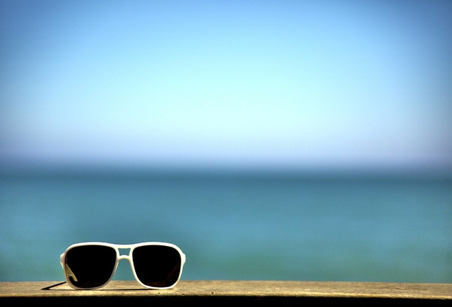 summer, sunglasses, table