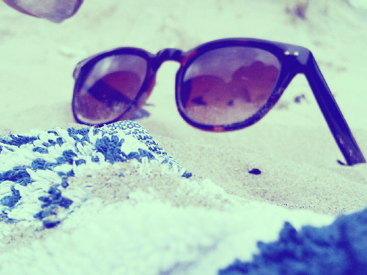 sunglasses, beach, sand, towel, wayfarers