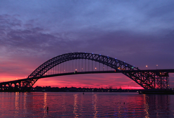 sunset, bayonne bridge, usa