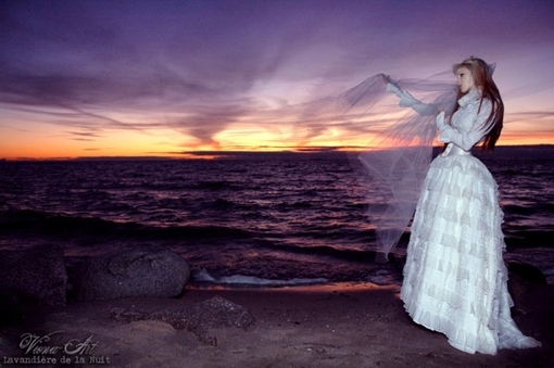 sunset, dress, landscape, bridal, seacape