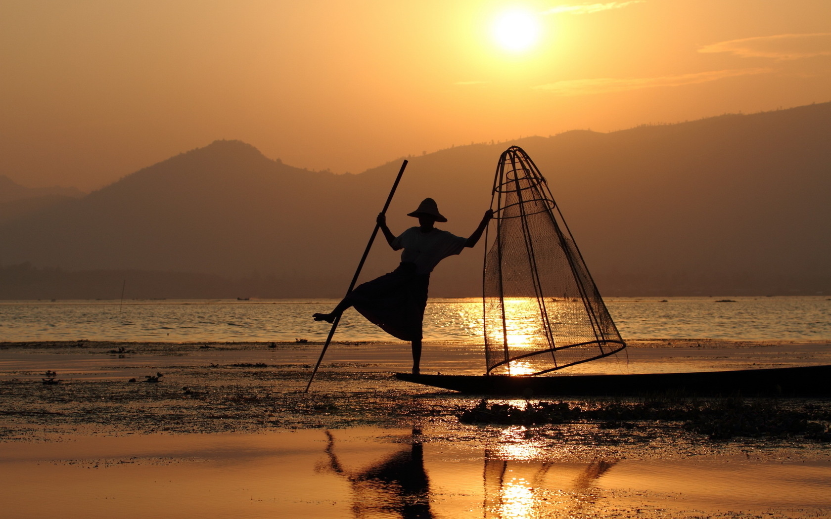 sunset, fisherman, network