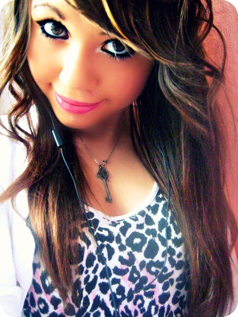brown eyes, brown hair, eyes, girl, hair, leopard, make up, smile, swag, swagg