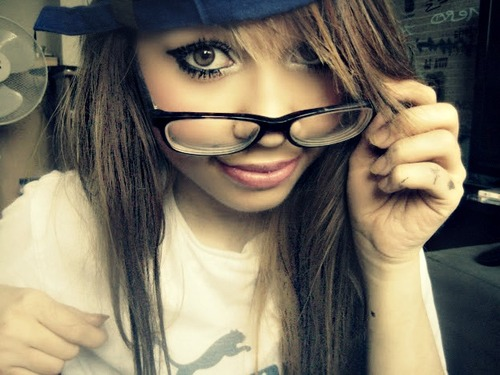 brown eyes, brown hair, cap, dope, eyes, girl, make up, make zo, nerd, photography, scene, scene hair, swag